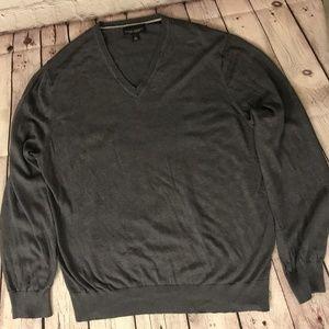 Silk Cashmere Luxury Grey VNeck Pullover Sweater